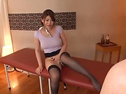 Beautiful Oshikawa Yuuri teases while in sexy stockings