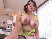 Japanese milf with big impressive tits involved into a rough action