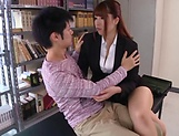 Hot luscious teacher Chitose Saegusa rides cock wildly picture 10