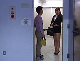 Hot luscious teacher Chitose Saegusa rides cock wildly