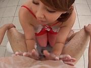 Hot POV oral sex in the bathroom with Kazama Yumi