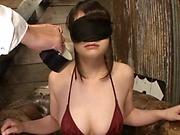 Steamy bondage stiulation for honey in tiny bikini
