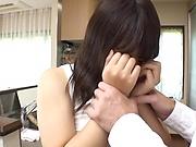 Busty Rika Gotou sucks and fucks in the kitchen