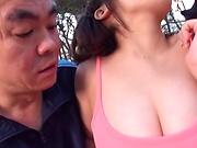 Hottie Kirishima Sakura enjoys a threesome excitement