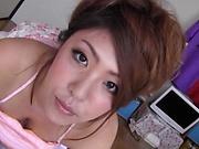Busty Asian beauty Yazawa Manami gives steamy blowjob