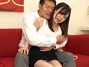 Glamorous Japanese chick Yoshikawa Aimi gets cum in her mouth