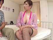 Bosomy Japanese mature gets her hairy pussy screwed hard