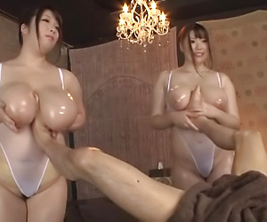 Busty girls working the same dick in perfect threesome
