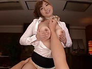 Naughty Nakamura Chie enjoys an erotic tit tease session