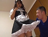 Busty Japanese maid Kawane Kurumi fucked by her boss picture 10