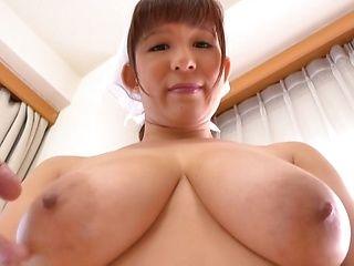 Stunning Asian housekeeper Yuina Sakurano gets boobs creamed