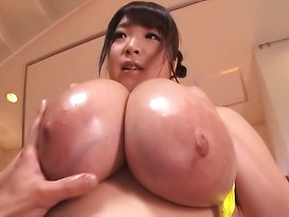 Chubby Japan model with giant tits, insane oral sex