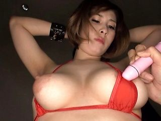 Voluptuous Asian girl Orihara Honoka gets her nipples dildoed