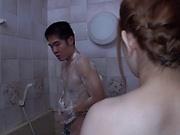 Sloppy blowjob in the shower with Kimino Natsu