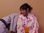 Busty woman in kimono fucked hard by a group of men