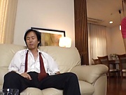 Rika Gotou in mind blowing hardcore threesome at home