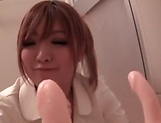 Kisaki Mikoto teases her hairy wet snatch an puffy clit