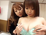 Luscious sweetie Kazama Yumi enjoys kinky lesbian sex