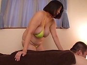 Brunette with huge boobs is busy fucking