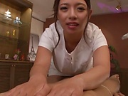 Sweet Japanese masseuse Oda Mako gets her big tits licked