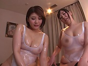 Busty milfs sharing cock in sensational Asian POV