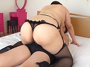 Busty Japanese girl is wearing lingerie