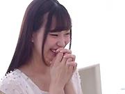 Japanese teen in stockings Mitani Akari gets cum on glasses
