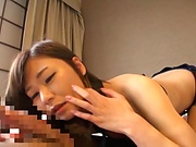 Strong cock sucking sex scenes with a hot Japanese doll