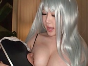 Kinami Hina blowing and stroking that cock well