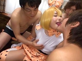 Kinky Japanese girl is having a foursome