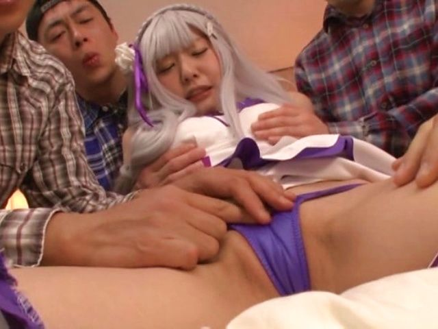 Rough cosplay Japanese sex with a fine ass milf