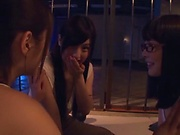 Three admirable girl from Tokyo lick a submissive dude