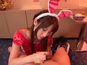Hot bunny girl from Japan blows a dick and swallows semen