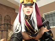 Hot Japanese chick in weird clothes Hakii Haruka enjoys cosplay sex