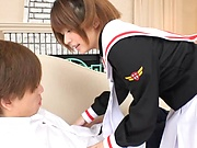 Cosplay sex addicted teen from Japan gives a fantastic blowjob