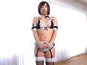 Japanese in hot lingerie, sensual hard sex on the couch