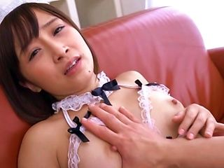 Top Japanese maid gets dick in her pussy and ass