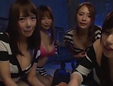 Four Tokyo girls in sexy costumes gangbang a horny fellow picture 11