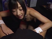 Pretty bunny girl from Tokyo deepthroats a massive pecker