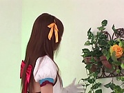 Hot Japanese teen is satisfying a man