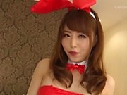 Cute Japanese milf in red lingerie enjoys cosplay sex