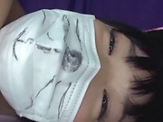 Naughty Asian babe gets her pretty face filled with cum