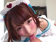 Teen sex doll with shaved pussy Sakura Kizuna swallows jizz