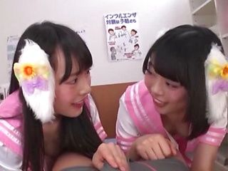 Two young Tokyo angels share a guy's dick and get finger fucked
