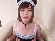 Sweet Japanese maid Misaki Maya fucked in a cosplay action