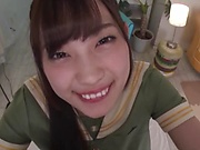 Long-haired Asian teen Mitani Akari grinds on a dick to get creamed