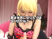 Three Japanese sex dolls in fancy costumers get finger fucked