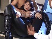 Mind blowing threesome as beauty Ema Yuna enjoys