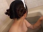 Top Mana Matsuda sucks dick and fucks in the tub