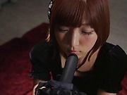 Sakura Kizuna  ,performs a kinky dildo sucking